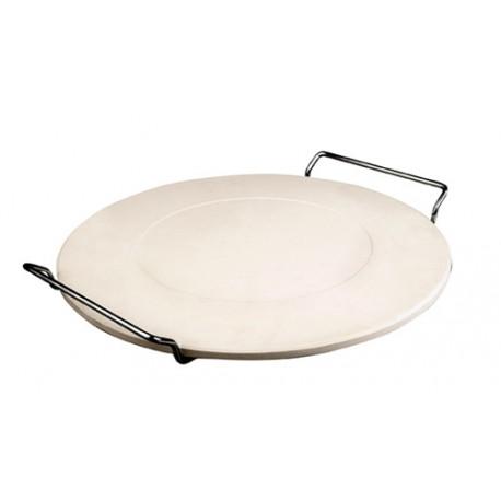 Piedra para pan y pizza redonda con soporte